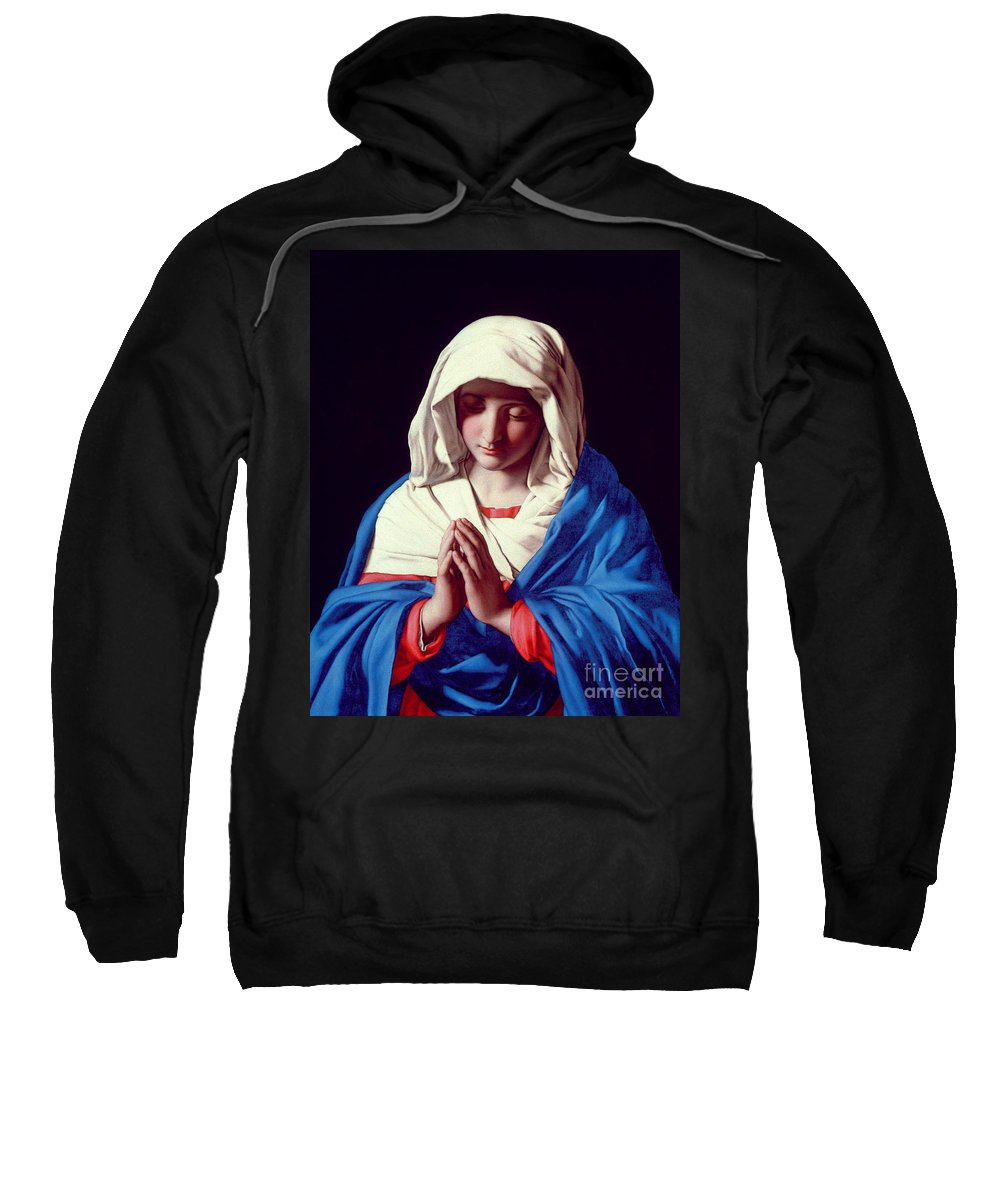 Mary Sweatshirt featuring the painting The Virgin In Prayer by Il Sassoferrato