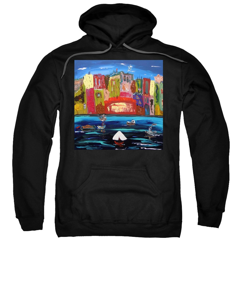 Urban Sweatshirt featuring the painting The Vista Of The City by Mary Carol Williams