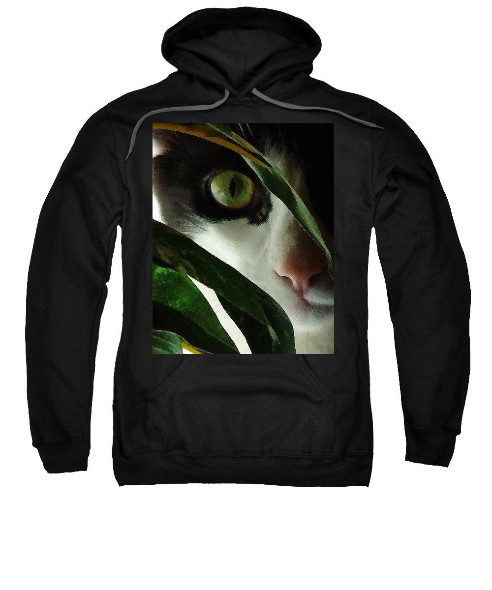 Cat Sweatshirt featuring the photograph The Voyeur by Lynn Andrews