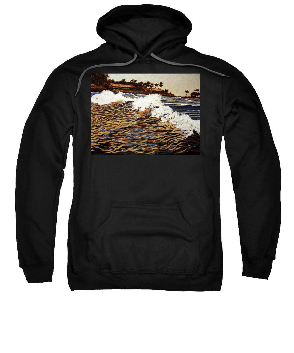 Wave Sweatshirt featuring the painting The Wave by Usha Shantharam