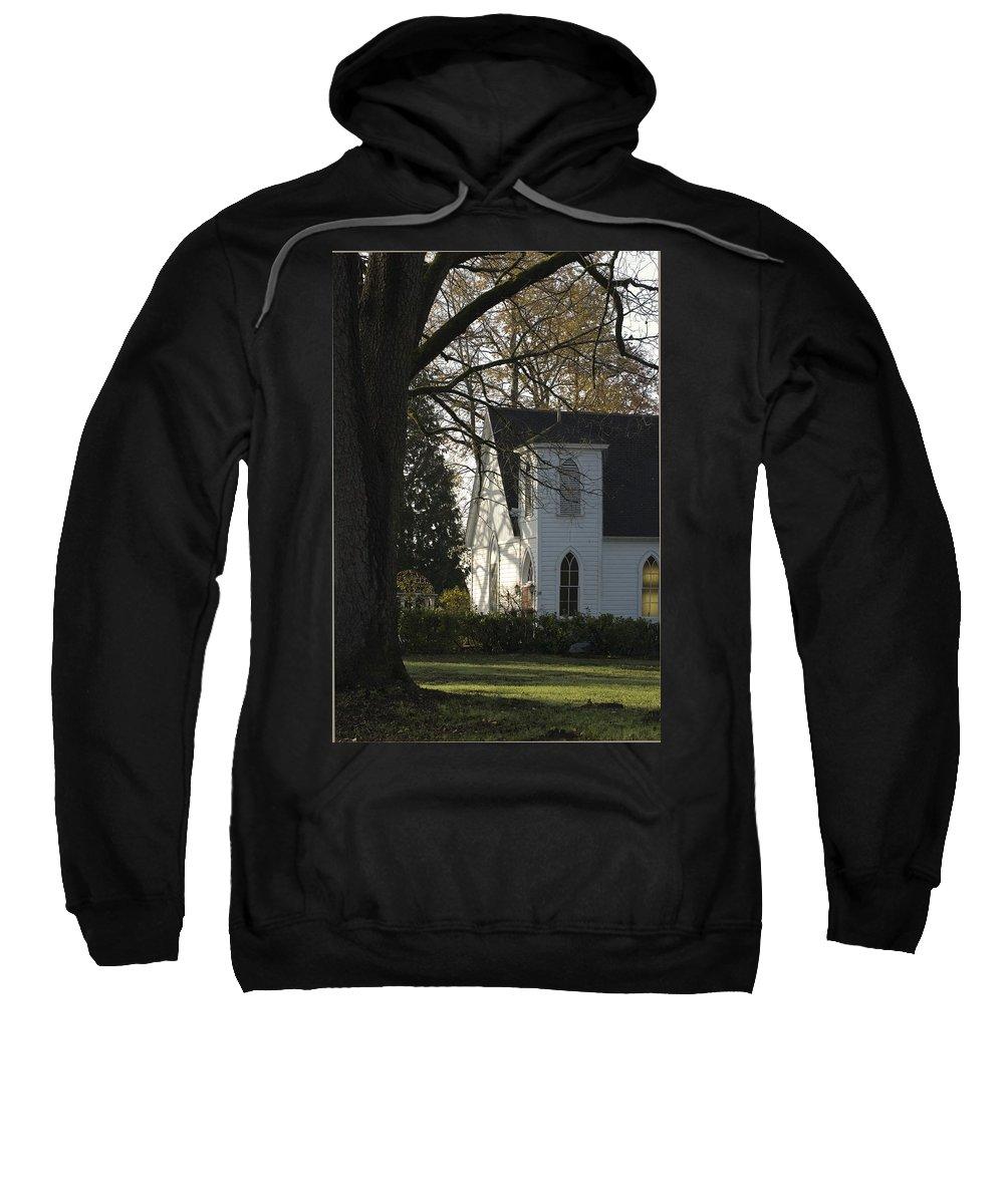 Church Sweatshirt featuring the photograph The White Church by Sara Stevenson