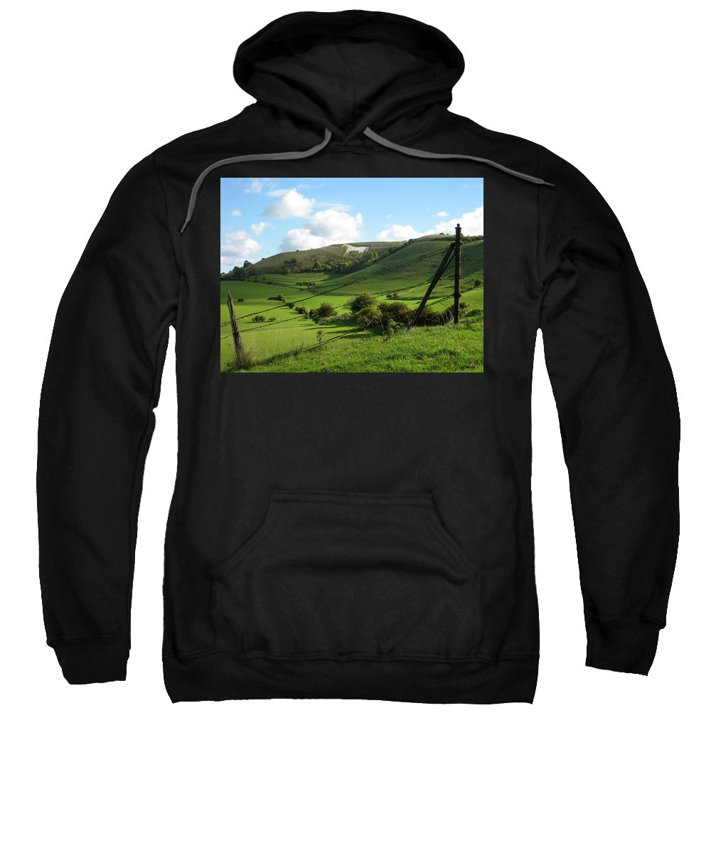 Westbury Sweatshirt featuring the photograph The White Horse Westbury England by Kurt Van Wagner