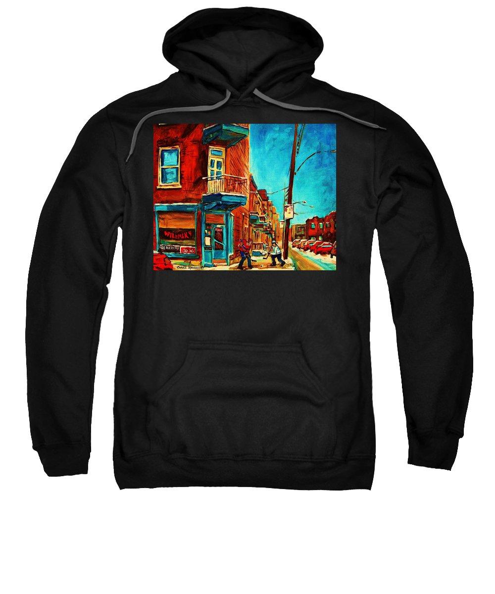 Wilenskys Doorway Sweatshirt featuring the painting The Wilensky Doorway by Carole Spandau