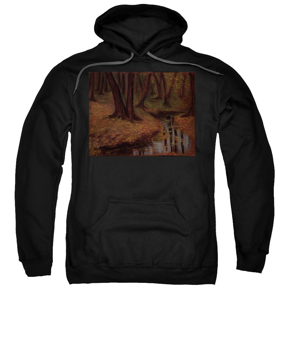 Woods Sweatshirt featuring the pastel The Woods Are Deep And Dark by Asha Sudhaker Shenoy