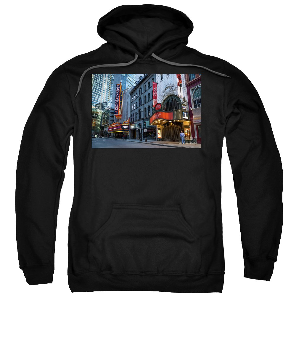 Theater District Sweatshirt featuring the photograph Theater by Bruce Coulter