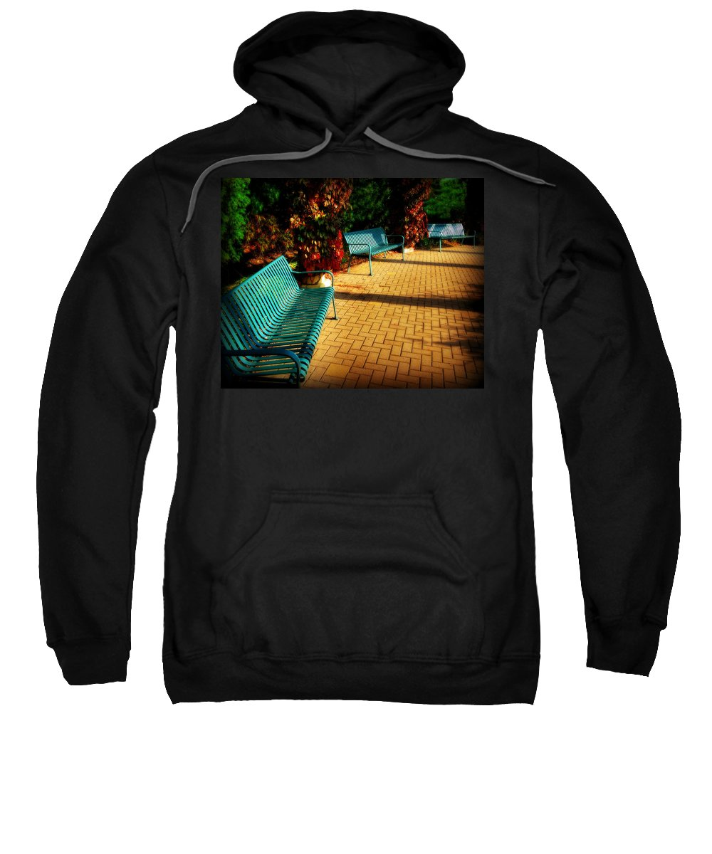 Bench Sweatshirt featuring the photograph Three Benches by Perry Webster