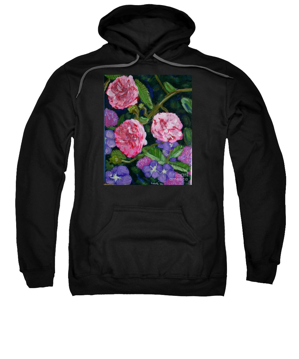 Roses Sweatshirt featuring the painting Three For The Show by Laurie Morgan