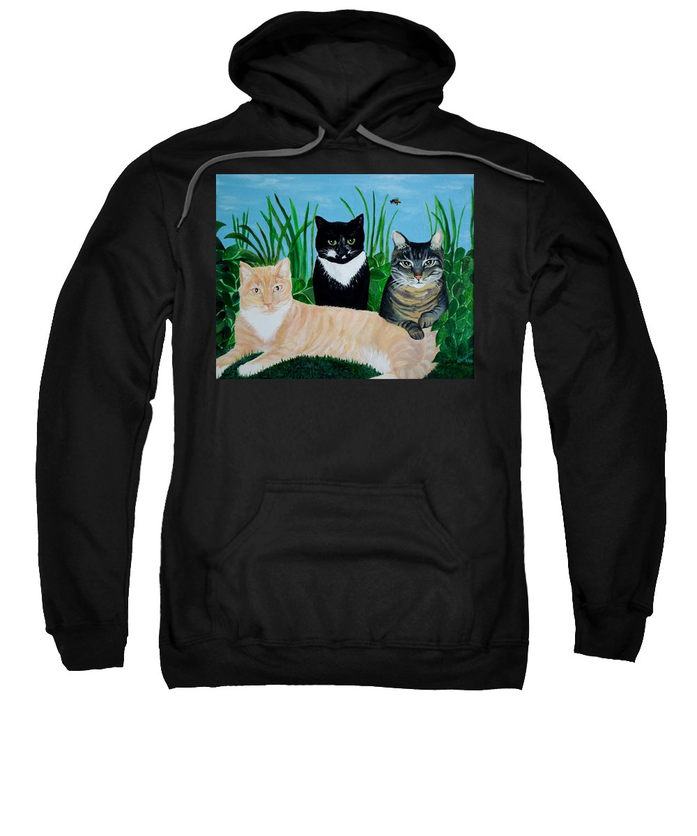 Landscape Sweatshirt featuring the painting Three Furry Friends by Elizabeth Robinette Tyndall