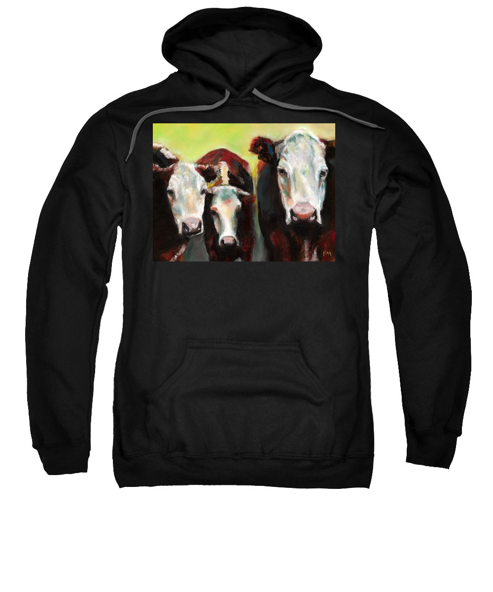 Cows Sweatshirt featuring the painting Three Generations Of Moo by Frances Marino