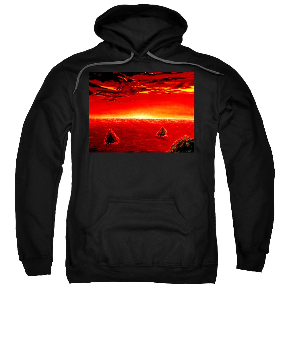 Seascape Sweatshirt featuring the painting Three Rocks In Sunset by Mark Cawood