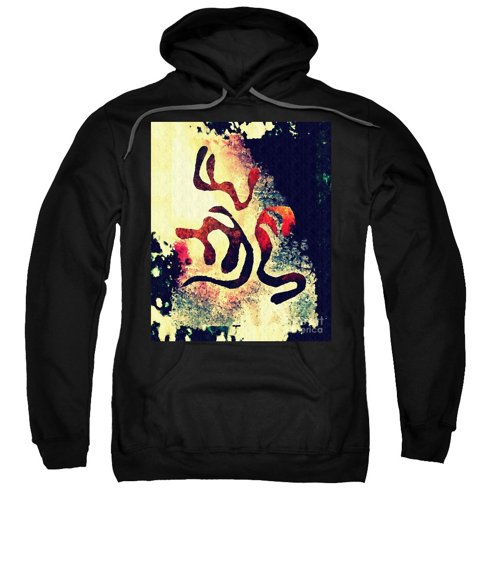 Curve Sweatshirt featuring the mixed media Three by Sarah Loft