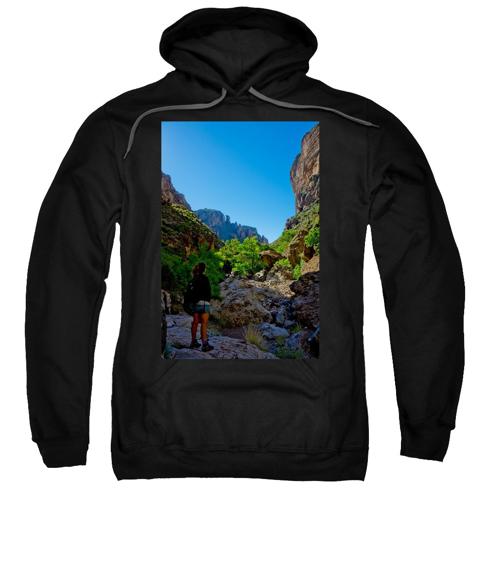 Superstition Mountains Sweatshirt featuring the photograph Threshold by Mumbles and Grumbles
