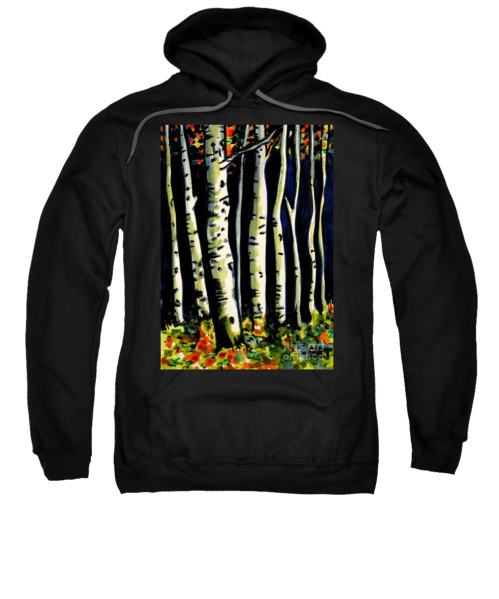 Trees Sweatshirt featuring the painting Through The Midnight Birch Trees by Elizabeth Robinette Tyndall