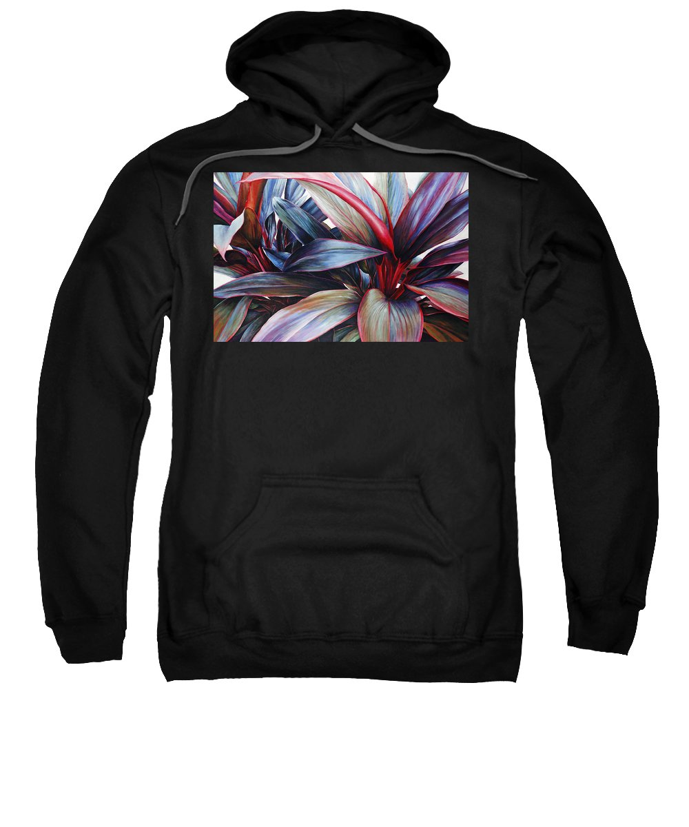 Acrylic Sweatshirt featuring the painting Ti In Blue by Sandra Blazel - Printscapes