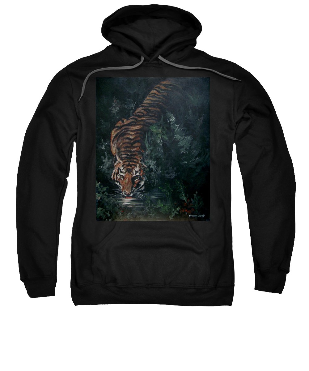 Tiger Sweatshirt featuring the painting Tiger by Bryan Bustard
