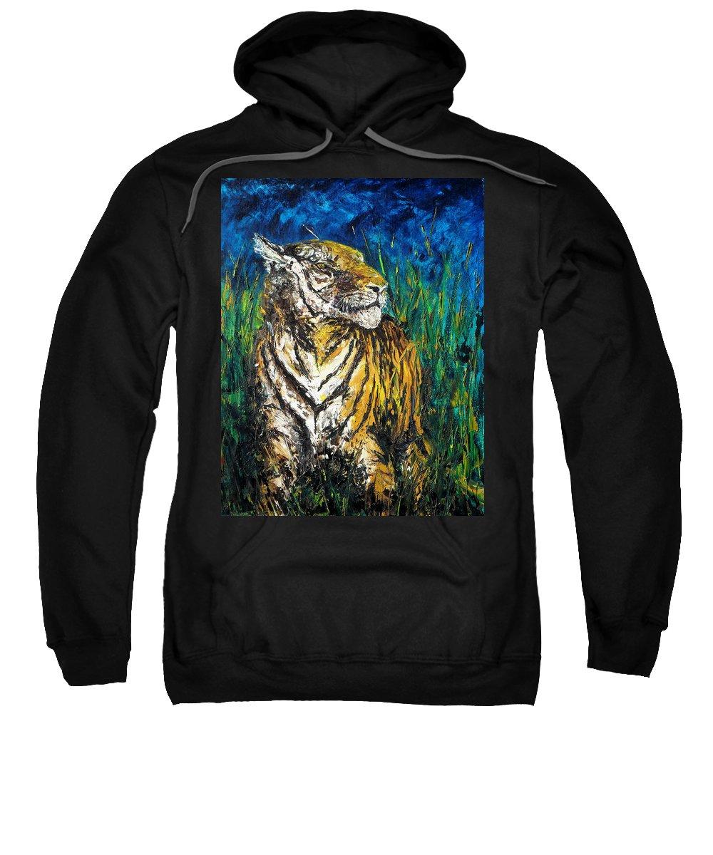Tiger Sweatshirt featuring the painting Tiger Night Hunt by Shirley Heyn