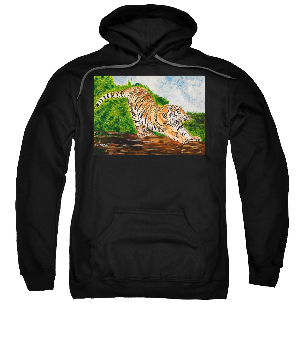 Cat Sweatshirt featuring the painting Tiger Stretching by Valerie Ornstein