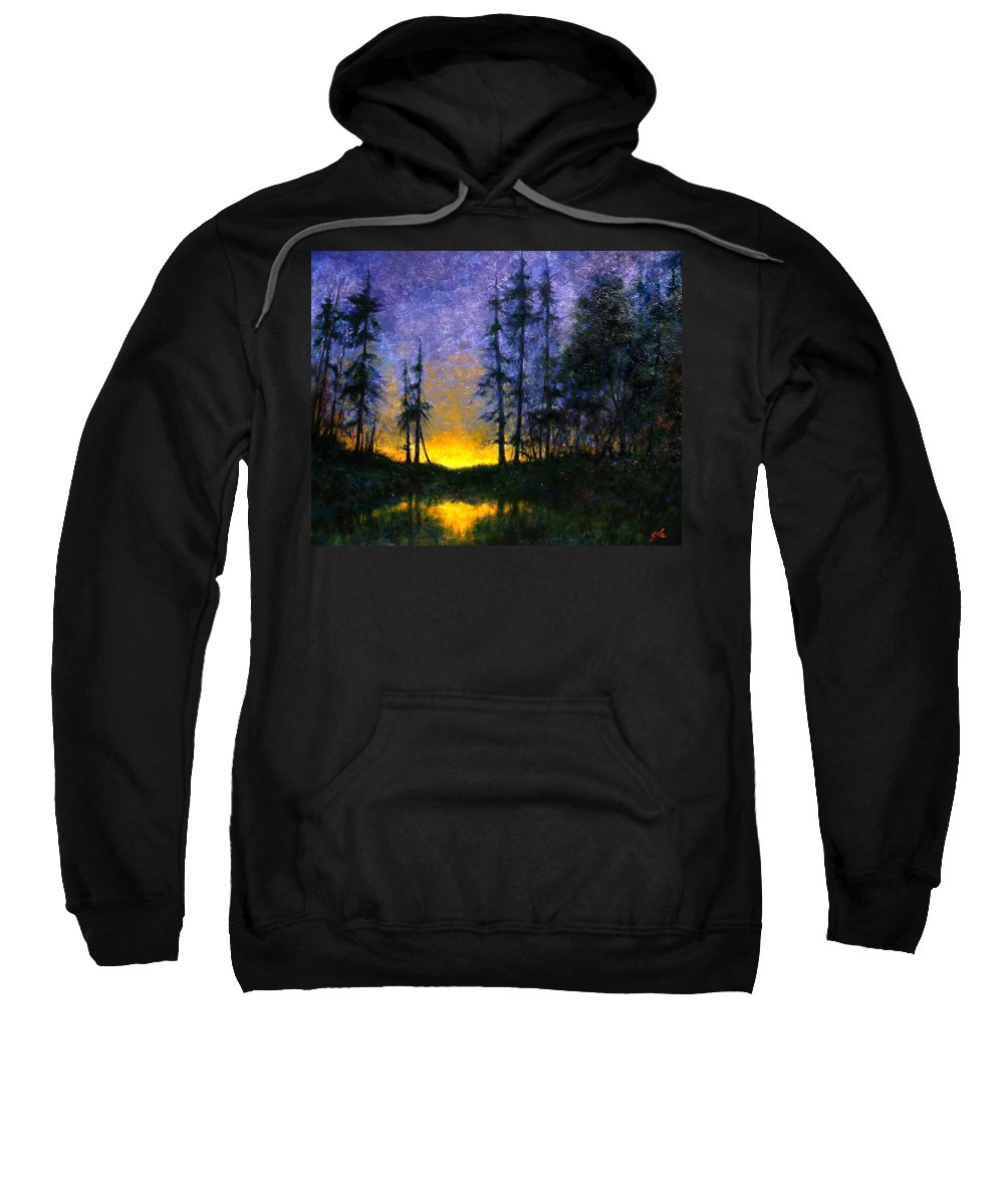 Landscape. Nocturn Sweatshirt featuring the painting Timberline by Jim Gola