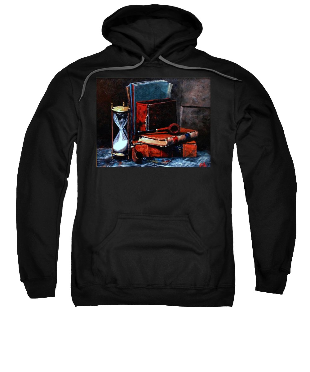 Still Life Painting Sweatshirt featuring the painting Time And Old Friends by Jim Gola