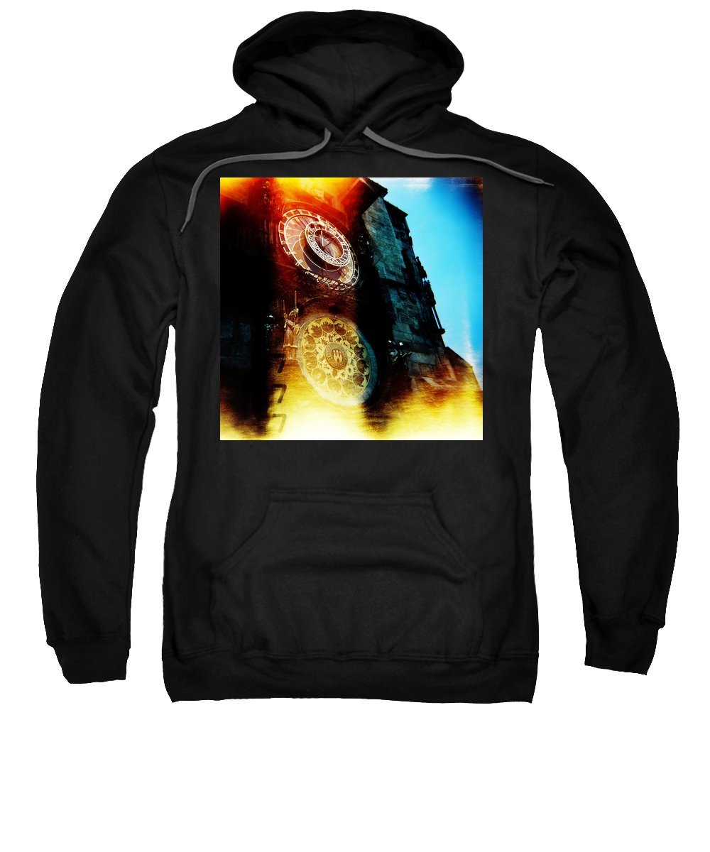 Clock Time Holga Color Photograph Praha Sweatshirt featuring the photograph Time is burning by Olivier De Rycke