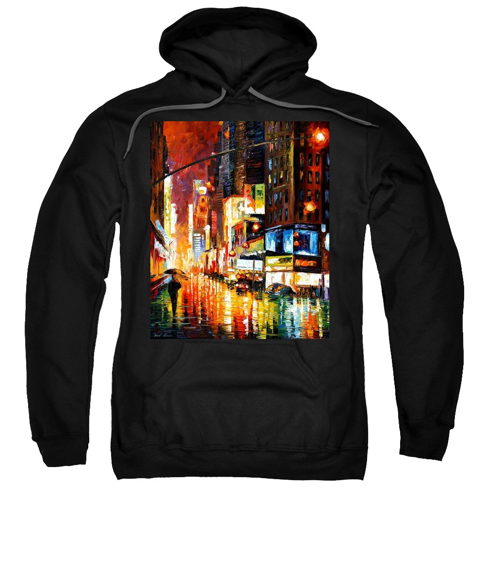 City Sweatshirt featuring the painting Times Square by Leonid Afremov