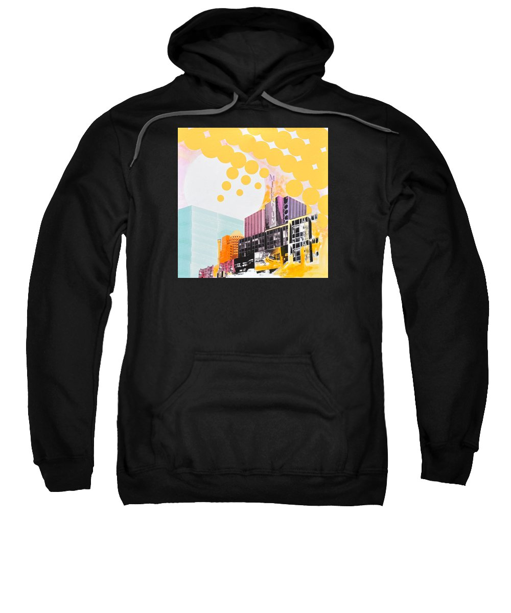 Ny Sweatshirt featuring the painting Times Square Milenium Hotel by Jean Pierre Rousselet