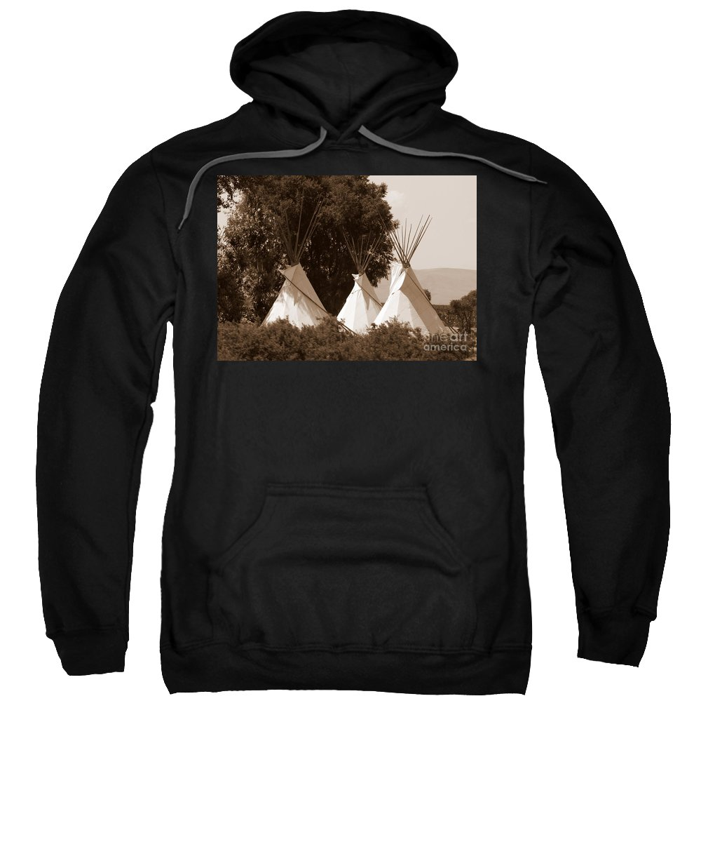Tipis Sweatshirt featuring the photograph Tipis In Toppenish by Carol Groenen