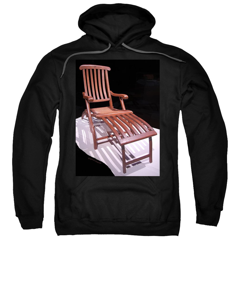 Titanic Sweatshirt featuring the digital art Titanic Teak Lounge by DigiArt Diaries by Vicky B Fuller