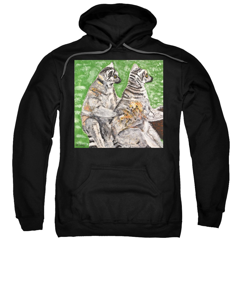 Katta Sweatshirt featuring the painting Together by Valerie Ornstein