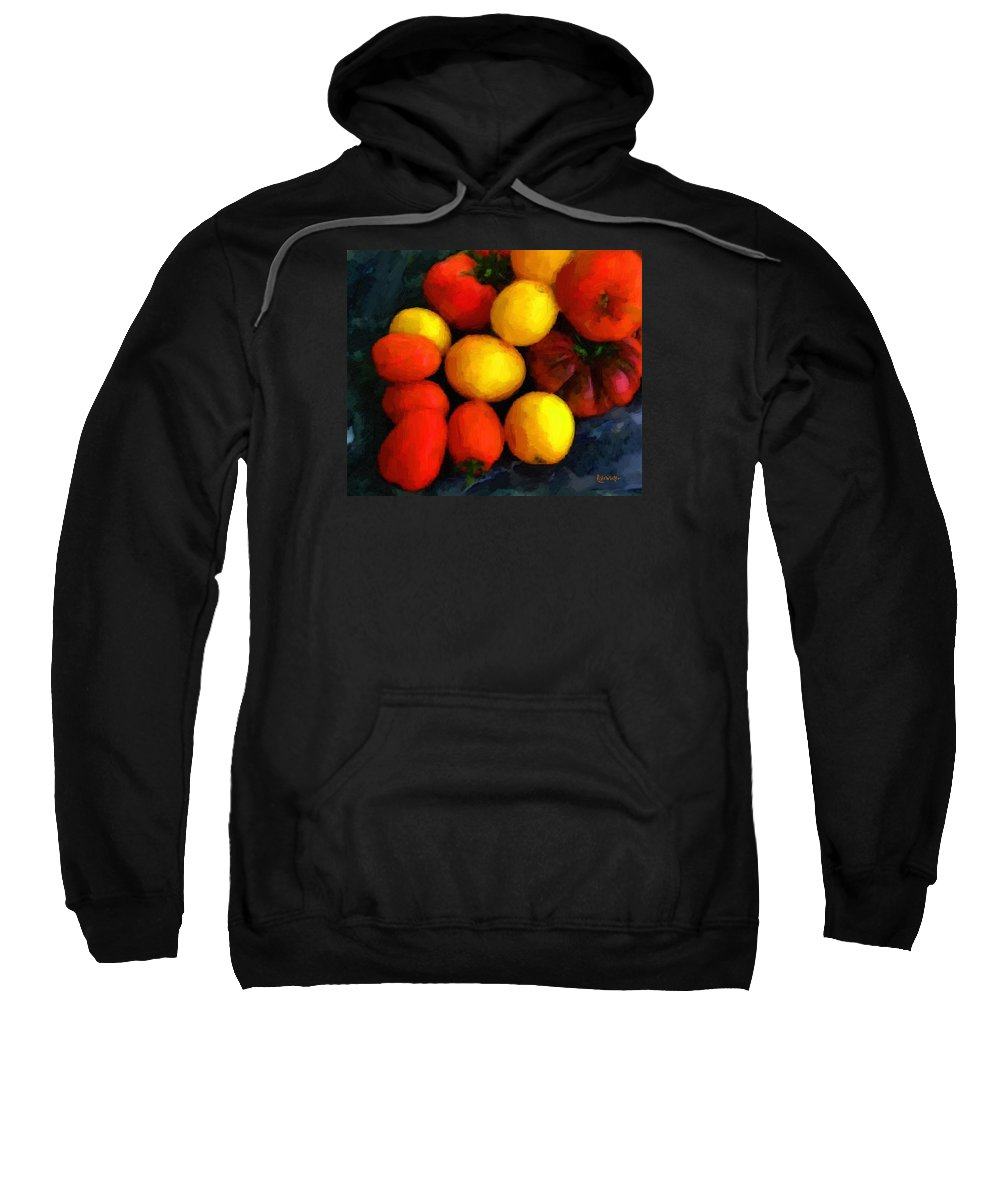 Tomatoes Sweatshirt featuring the painting Tomatoes Matisse by RC DeWinter