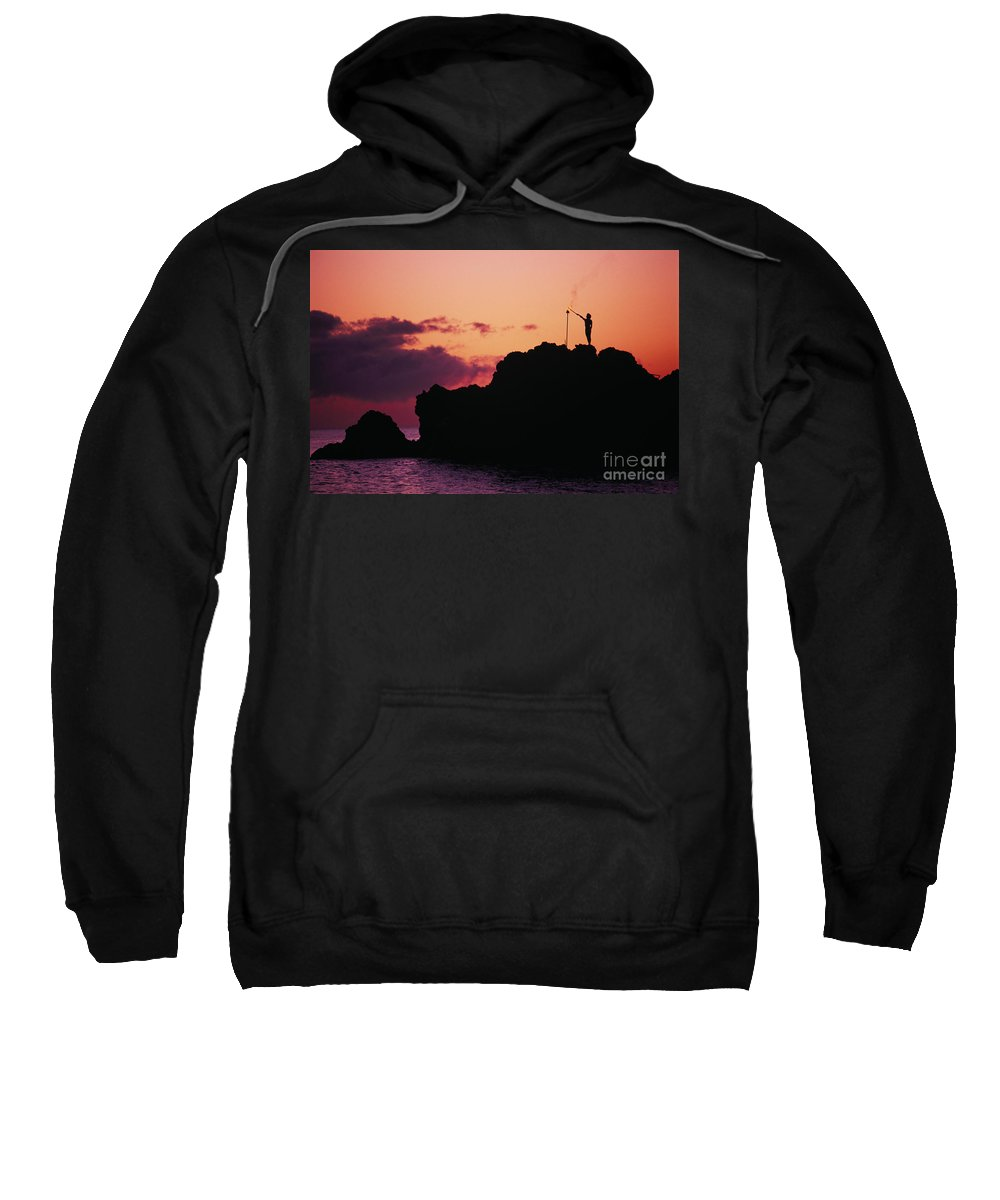 Black Sweatshirt featuring the photograph Torch Lighting by Ron Dahlquist - Printscapes