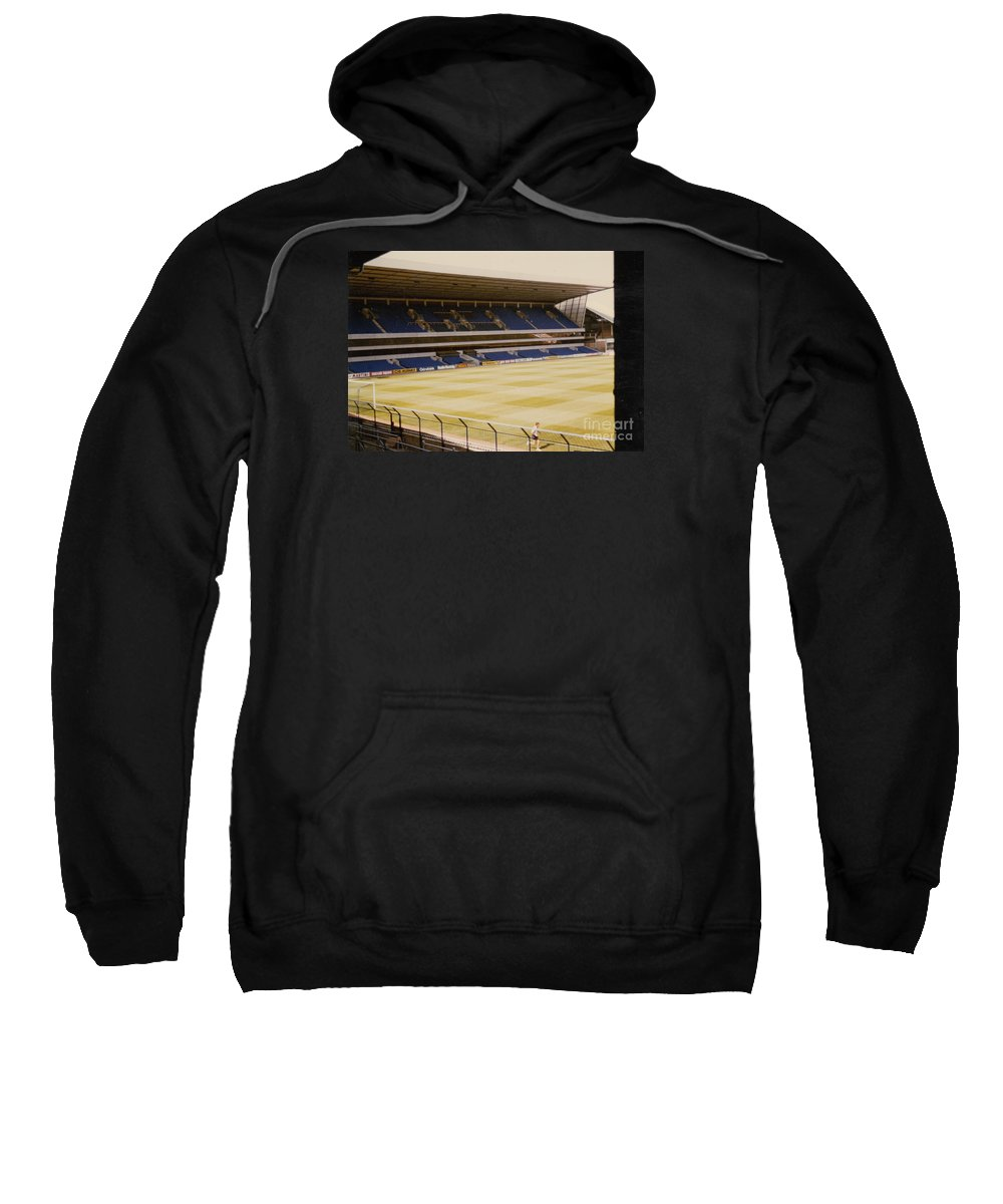 Sweatshirt featuring the photograph Tottenham - White Hart Lane - West Stand 2 - 1980s by Legendary Football Grounds