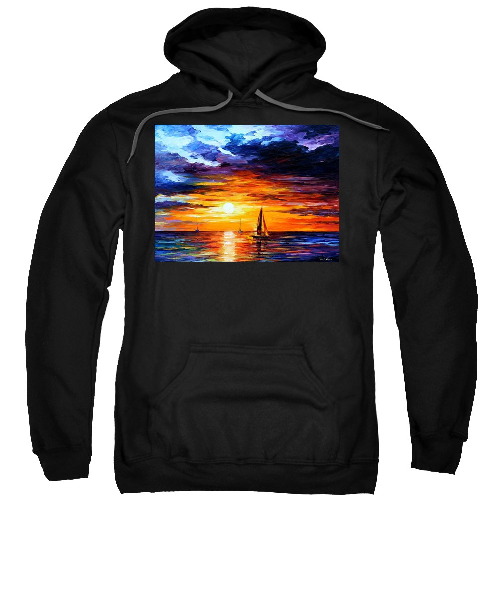 Afremov Sweatshirt featuring the painting Touch Of Horizon by Leonid Afremov