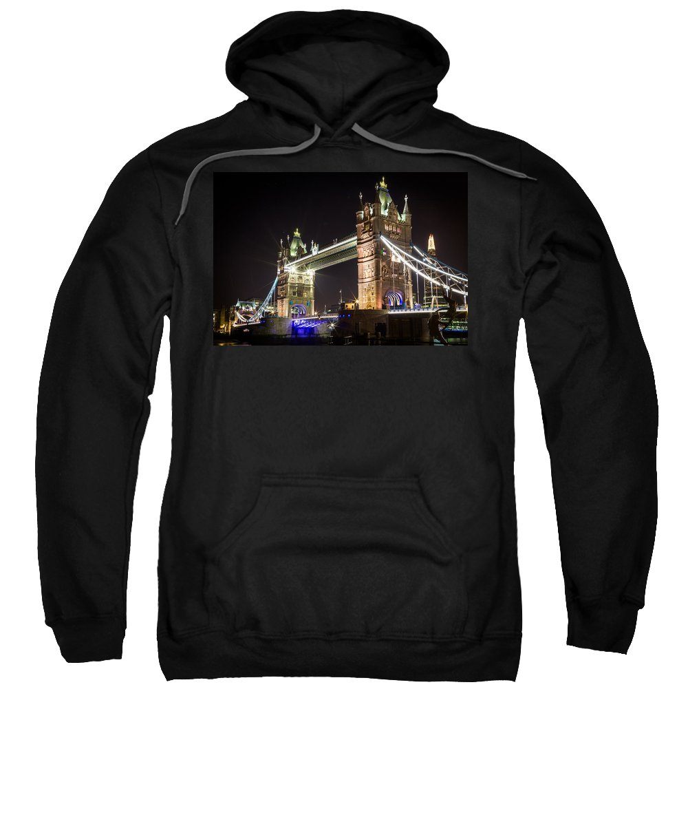 Tower Sweatshirt featuring the photograph Tower Bridge At Night by Sam Garcia