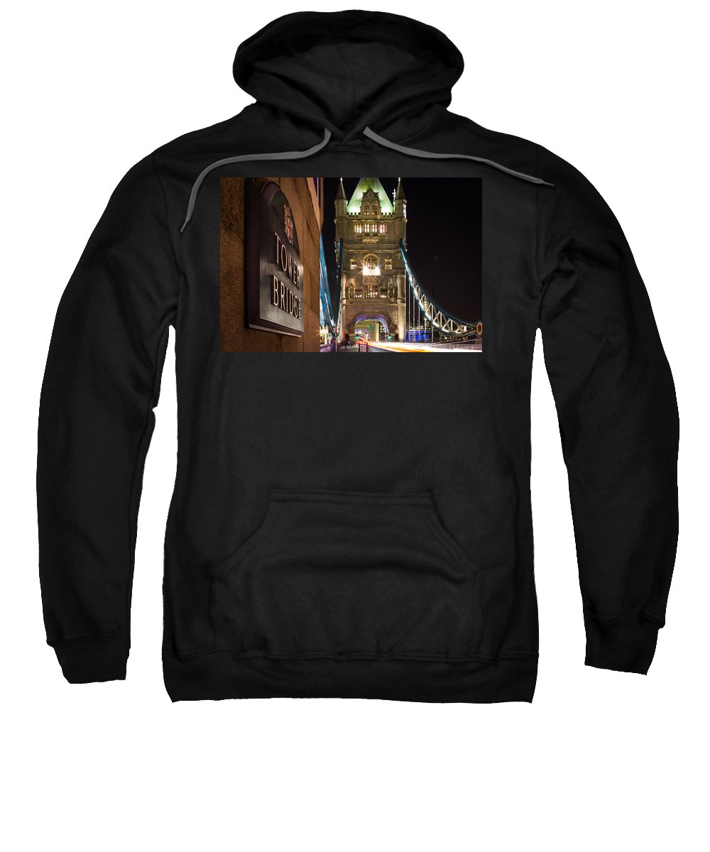 London Sweatshirt featuring the photograph Tower Bridge Side Sign by Sam Garcia