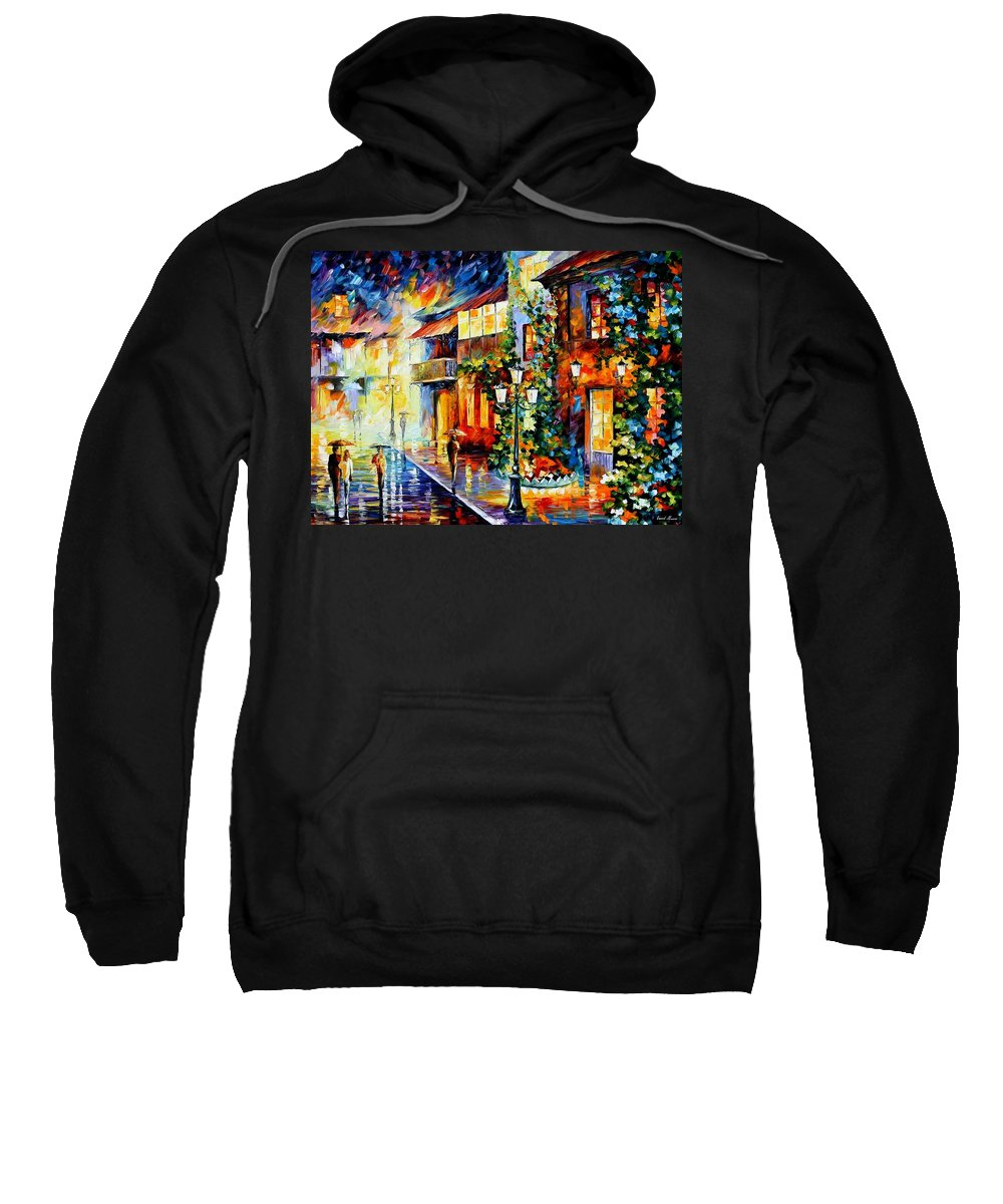 Afremov Sweatshirt featuring the painting Town From The Dream by Leonid Afremov