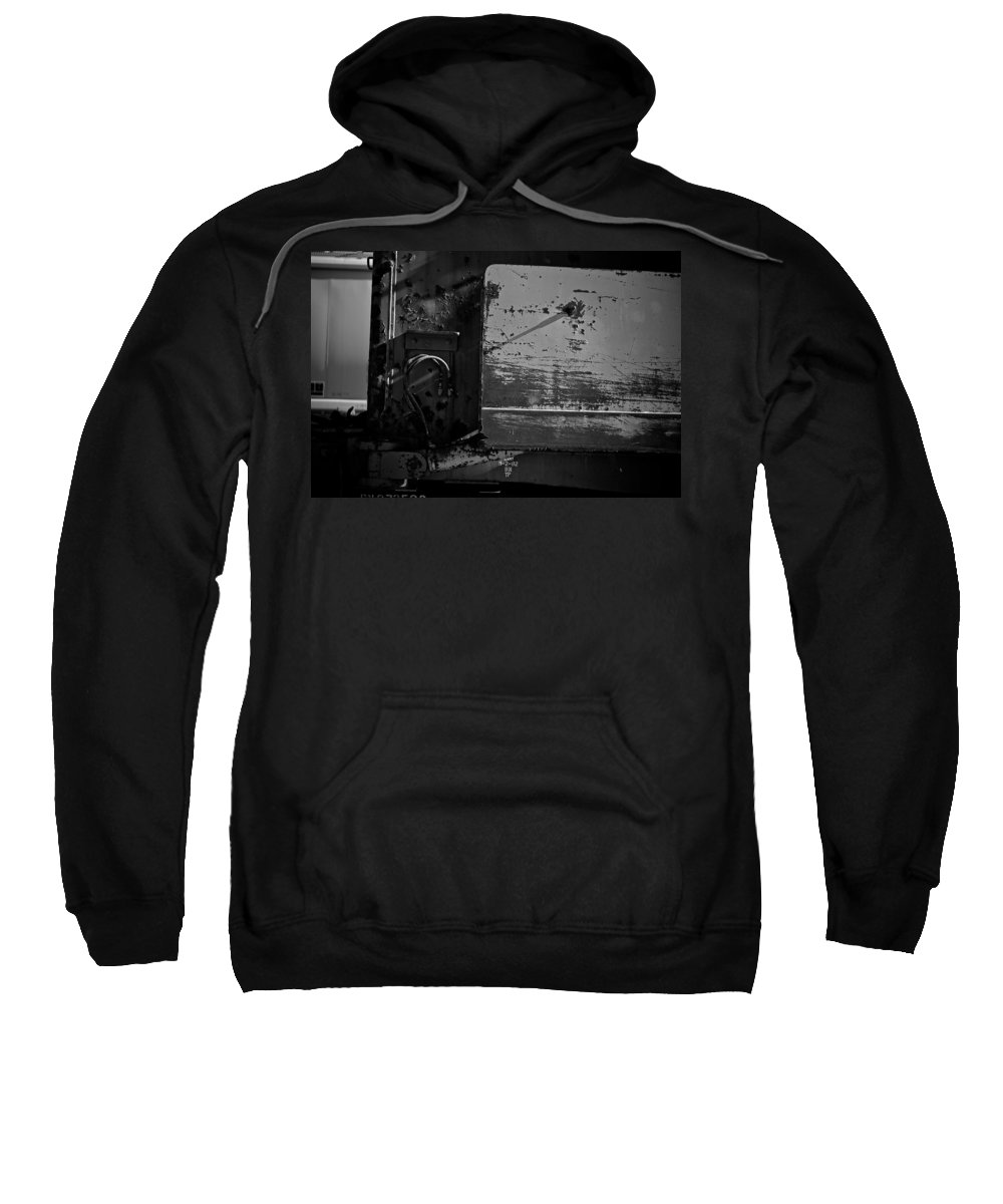Black And White Photograph Sweatshirt featuring the photograph Track Plow by Mike Oistad