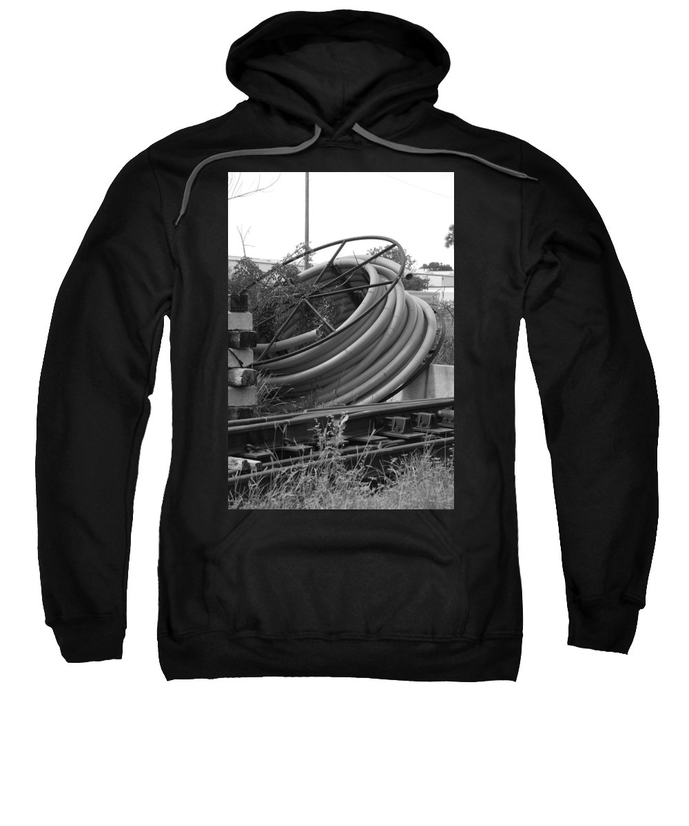 Blacka Nd White Sweatshirt featuring the photograph Tracks And Cable by Rob Hans