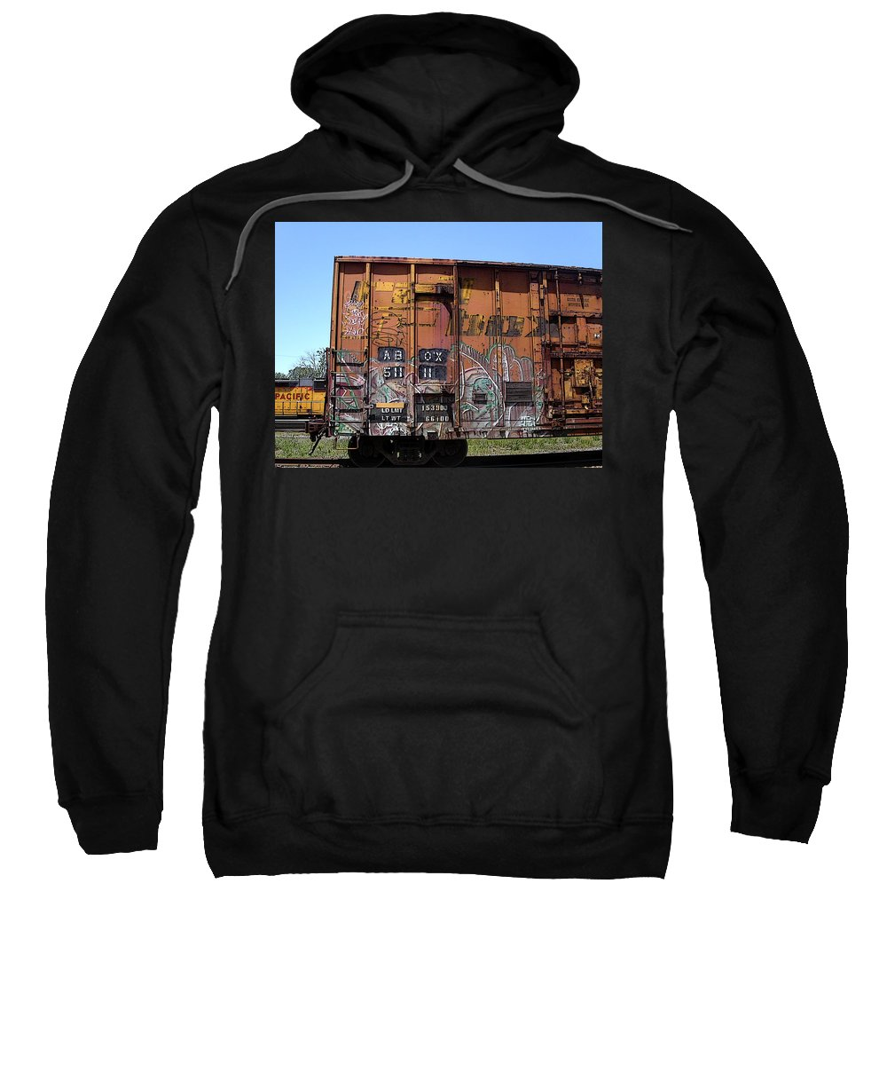 Train Sweatshirt featuring the photograph Train Car Graffiti 1 by Anne Cameron Cutri