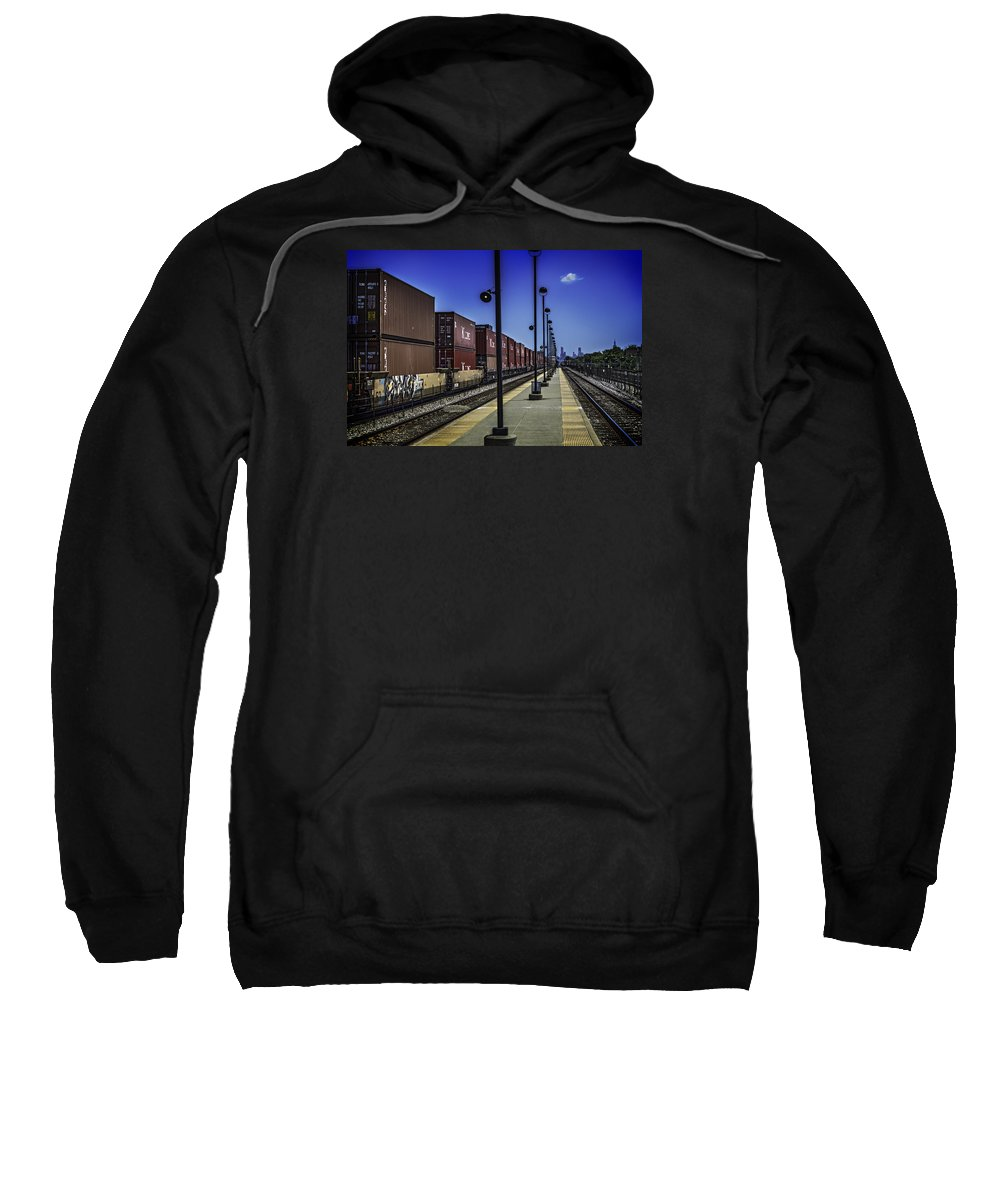 Cityscape Sweatshirt featuring the photograph Train From Chicago by Mattice Aaland