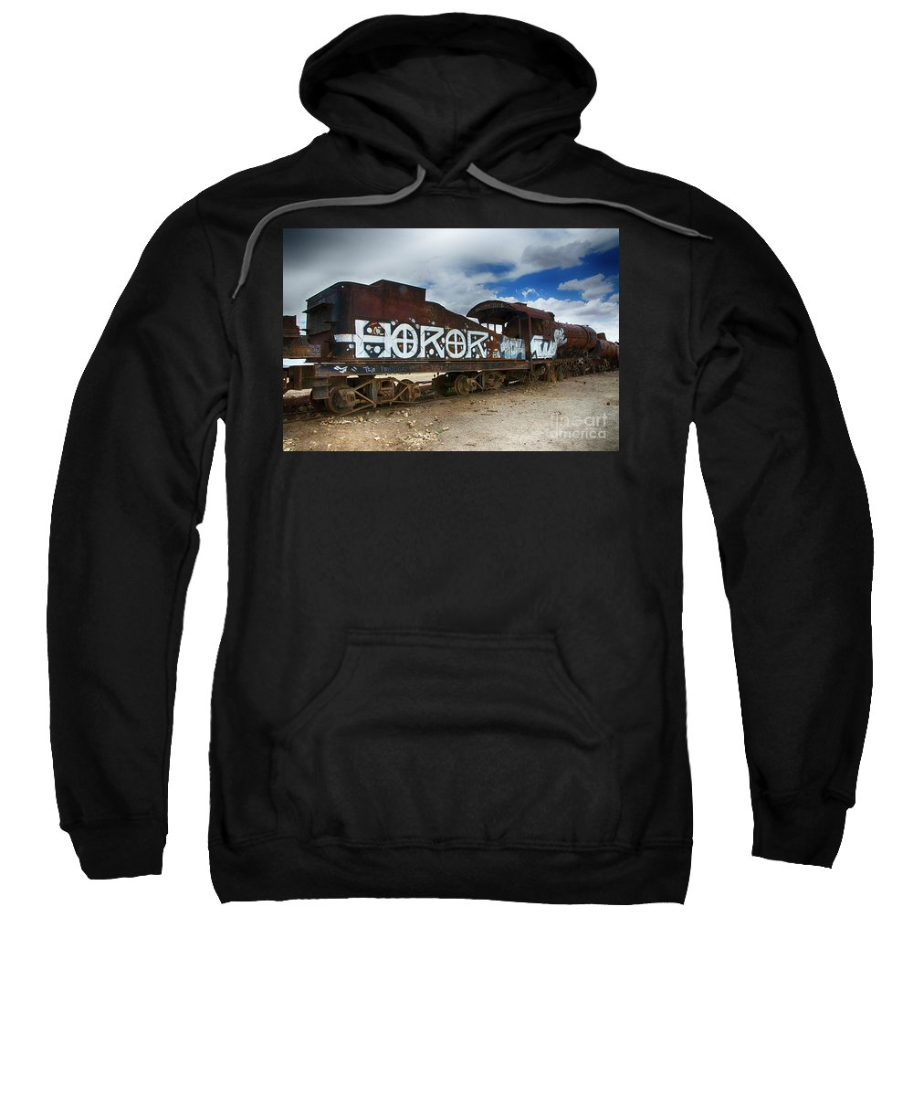 Uyuni Sweatshirt featuring the photograph Train Graveyard Uyuni Bolivia 13 by Bob Christopher