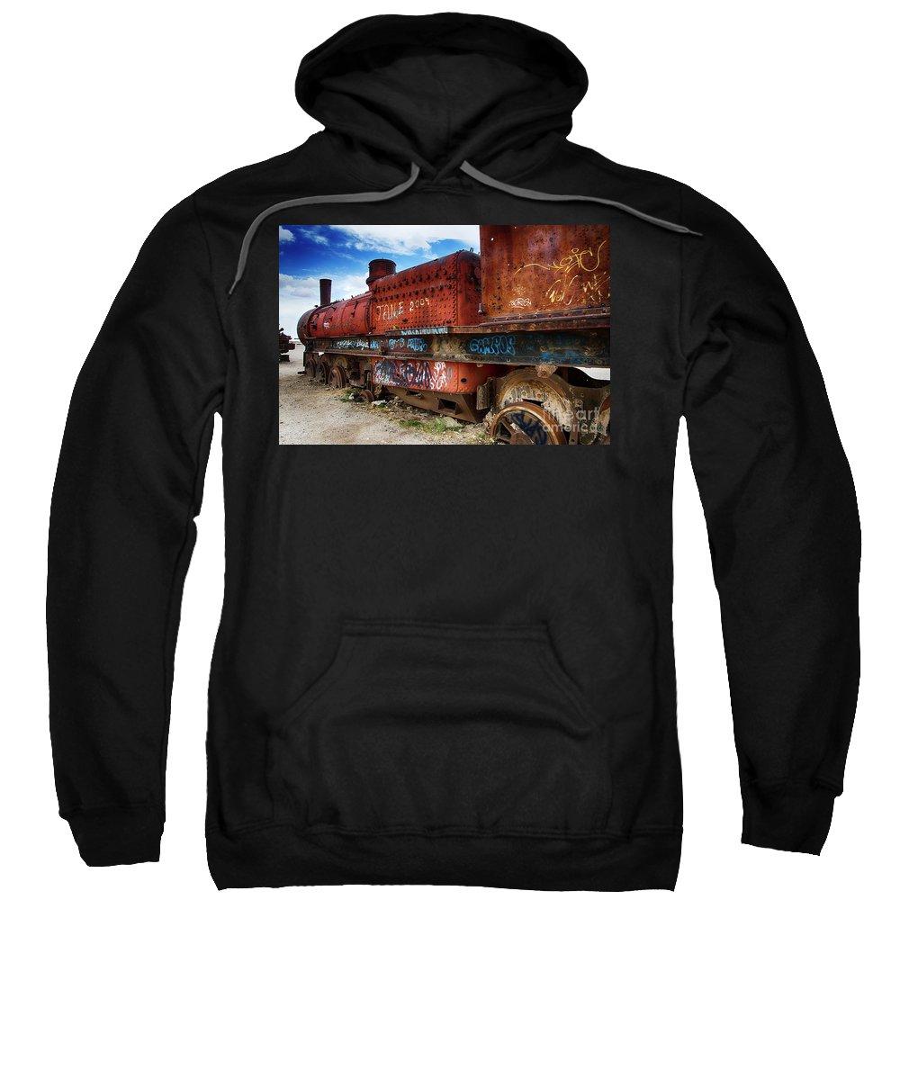 Uyuni Sweatshirt featuring the photograph Train Graveyard Uyuni Bolivia 18 by Bob Christopher