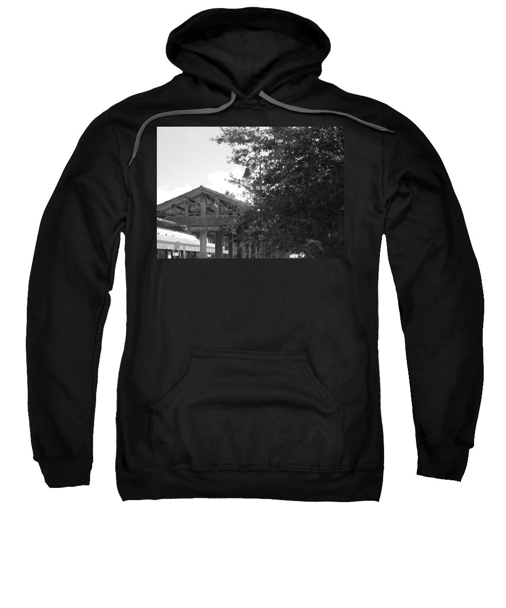 Black And White Sweatshirt featuring the photograph Train Station In Deerfield Beach by Rob Hans