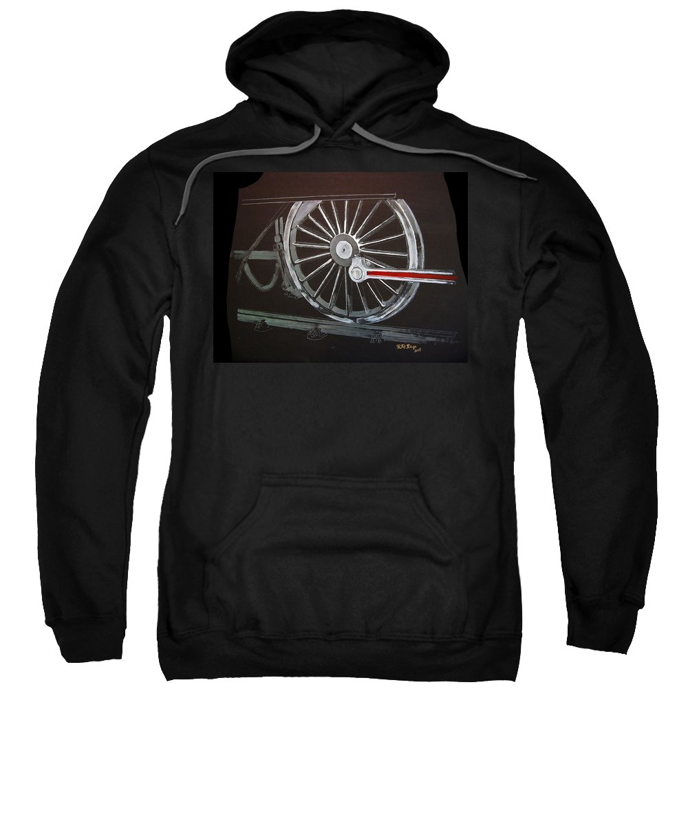 Trains Sweatshirt featuring the painting Train Wheels 2 by Richard Le Page