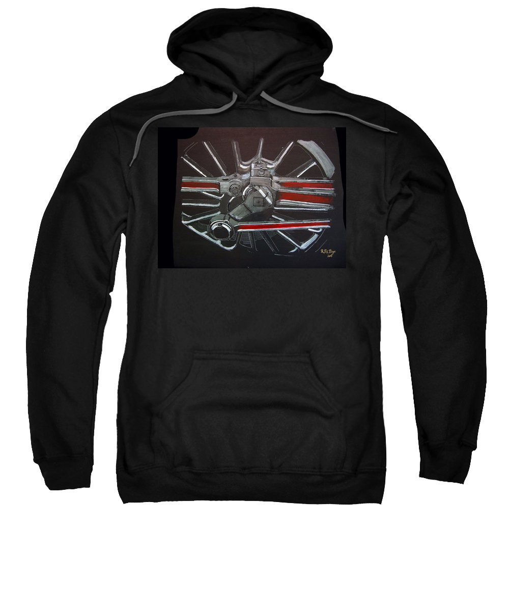 Trains Sweatshirt featuring the painting Train Wheels 3 by Richard Le Page