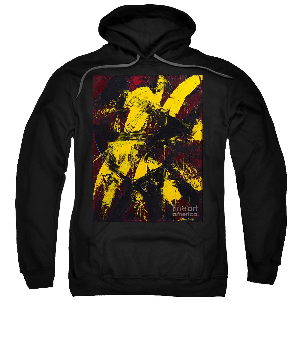 Abstract Sweatshirt featuring the painting Transitions With Yelllow And Black by Dean Triolo