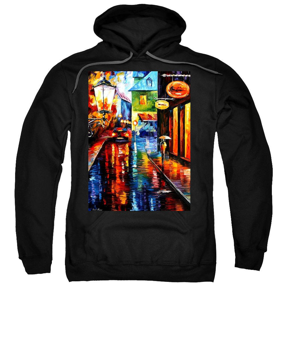 Afremov Sweatshirt featuring the painting Trapped Inside Blue Rain by Leonid Afremov