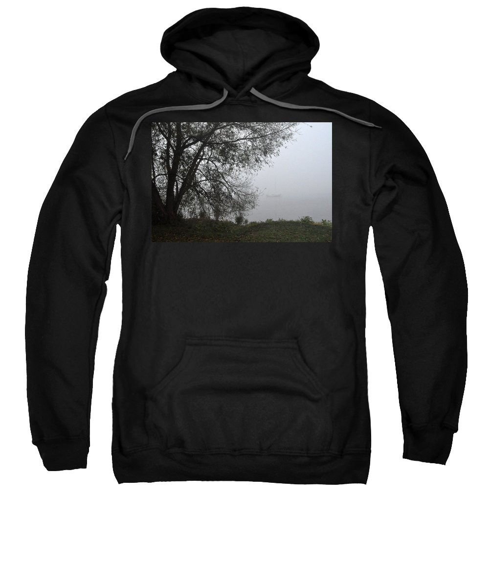 Fog Sweatshirt featuring the photograph Tree And Moored Boat by Tim Nyberg
