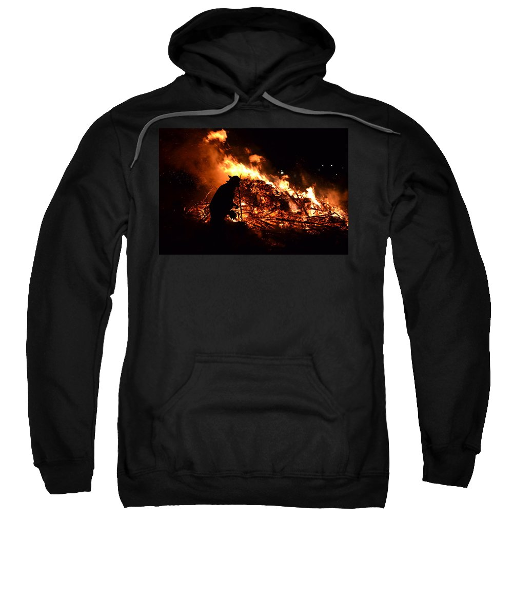 Fireman Sweatshirt featuring the photograph Tree Burning by Michael Hills