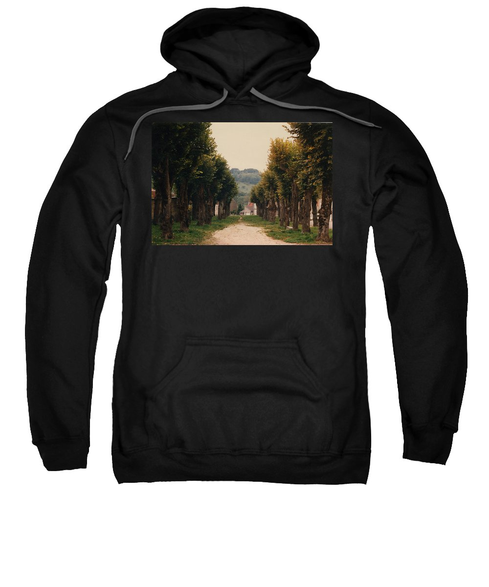 Trees Sweatshirt featuring the photograph Tree Lined Pathway In Lyon France by Nancy Mueller